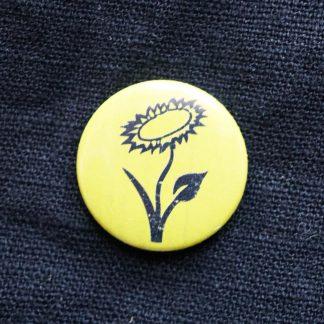 Button – Veganblume (gelb)