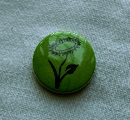 Button – Veganblume (grün)