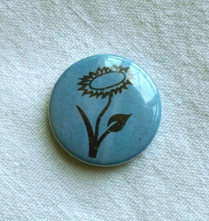 Button – Veganblume (blau)